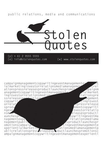 Graphic design portfolio designedbynatalie design photography business card design stolen quotes 2011 reheart Choice Image