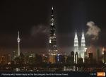 Burj Khalifi on Kuala Lumpur, Malaysia skyline by night