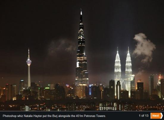 Burj Khalifa on Kuala Lumpur, Malaysia skyline by night