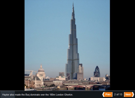 The Burj Khalifa dwarfing The Gherkin on the London skyline