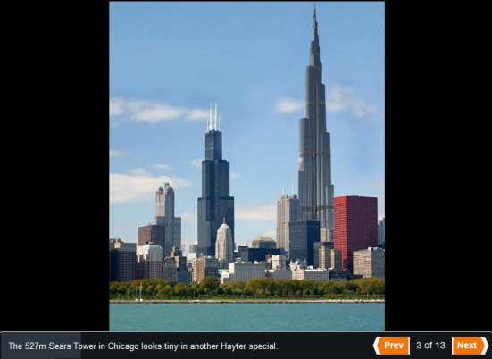 Burj Khalifa standing tall next to the Willis (Sears) Tower in Chicago, Illinois