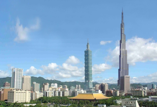 Taipei 101 with Burj Khalifa (Dubai) Mashup on Taipei, Taiwan skyline