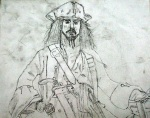 Captain Jack Sparrow pre painting sketch - By N.Hayter