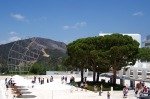 Getty Center: Arrival Plaza with row of Mexican Cypress trees