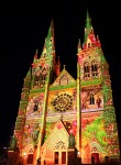 Sydney Vivid Light Festival - St Mary's Cathedral. Coloured project art.