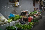 Puxi backstreets fresh produce stall. N.Hayter 2010.