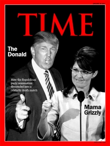 Trump vs Palin Republican Party Battle. Time Magazine Cover Concept: N.Hayter 2011