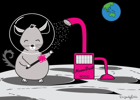 Chinchilla Dust Bath on the Moon - Illustration by N.Hayter