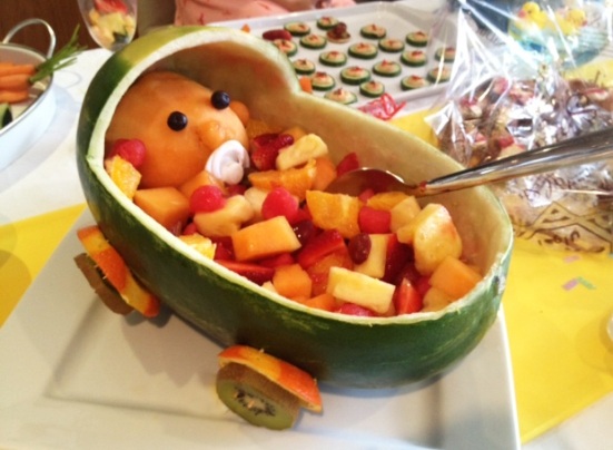 Baby Watermelon Carriage Pram. Baby Shower Food